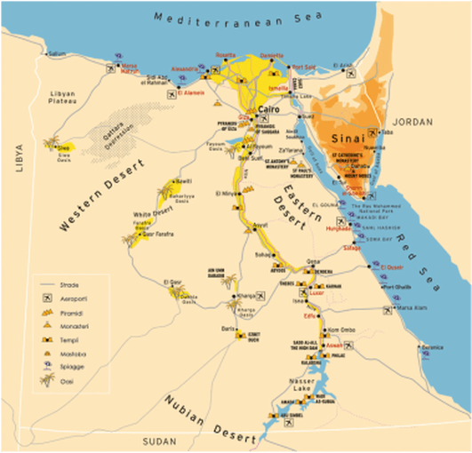 Cartina Turistica Egitto.L Egitto Cosa Vedere Nel Suo Territorio Tripinworld